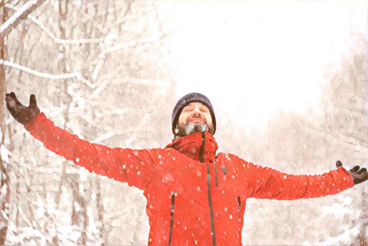 Glede over snø som faller - mindfulness - nærvær - Puste ut